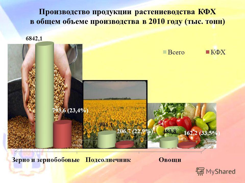 Производство продукции растениеводства КФХ в общем объеме производства в 2010 году (тыс. тонн)