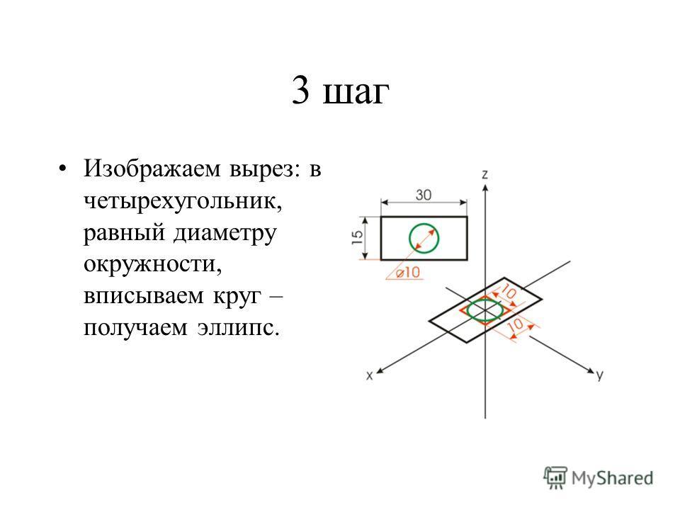 3 шаг Изображаем вырез: в четырехугольник, равный диаметру окружности, вписываем круг – получаем эллипс.