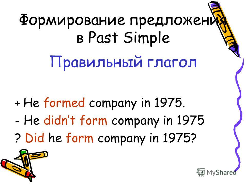 Формирование предложения в Past Simple Правильный глагол + He formed company in 1975. - He didnt form company in 1975 ? Did he form company in 1975?