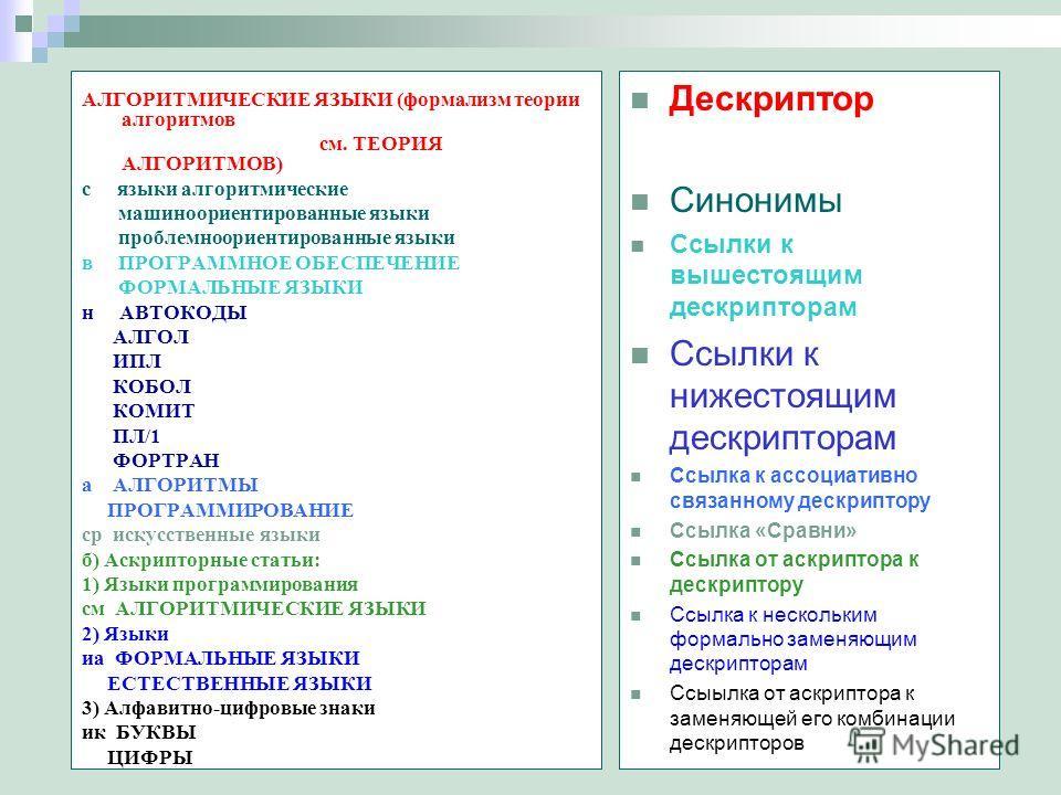 АЛГОРИТМИЧЕСКИЕ ЯЗЫКИ (формализм теории алгоритмов см. ТЕОРИЯ АЛГОРИТМОВ) с языки алгоритмические машиноориентированные языки проблемноориентированные языки в ПРОГРАММНОЕ ОБЕСПЕЧЕНИЕ ФОРМАЛЬНЫЕ ЯЗЫКИ н АВТОКОДЫ АЛГОЛ ИПЛ КОБОЛ КОМИТ ПЛ/1 ФОРТРАН а АЛ