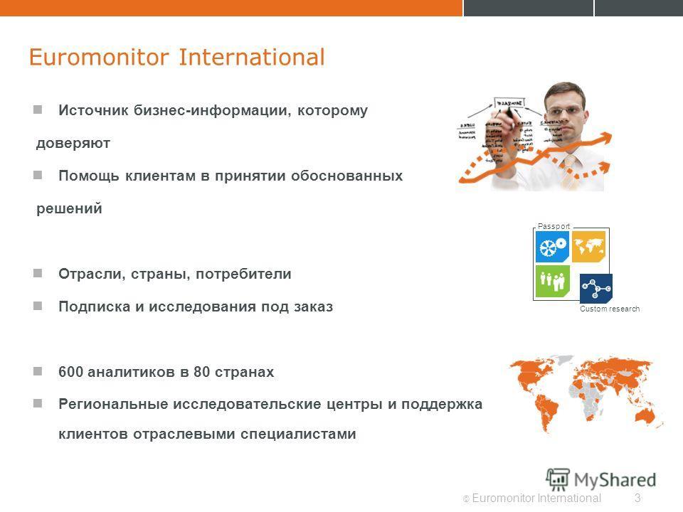 © Euromonitor International3 Euromonitor International Источник бизнес-информации, которому доверяют Помощь клиентам в принятии обоснованных решений Отрасли, страны, потребители Подписка и исследования под заказ 600 аналитиков в 80 странах Региональн