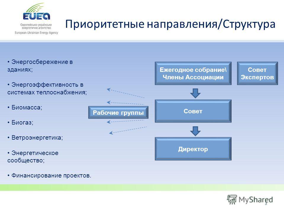 Приоритетные направления/Структура 3 Энергосбережение в зданиях; Энергоэффективность в системах теплоснабжения; Биомасса; Биогаз; Ветроэнергетика; Энергетическое сообщество; Финансирование проектов. Ежегодное собрание\ Члены Ассоциации Совет Директор