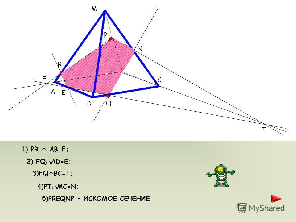 ЗАДАЧА 2 Дана пирамида MABCD. Постройте сечение пирамиды, проходящее через точки P, Q, R. Известно, что точка P MB, точка R MA, Q DC. МЕТОД СЛЕДОВ -Мой дорогой Уотсон, попробуйте немного - поанализировать сами, - сказал он с - легким раздражением. -