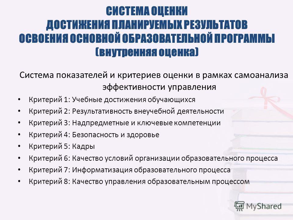 Система показателей и критериев оценки в рамках самоанализа эффективности управления Критерий 1: Учебные достижения обучающихся Критерий 2: Результативность внеучебной деятельности Критерий 3: Надпредметные и ключевые компетенции Критерий 4: Безопасн