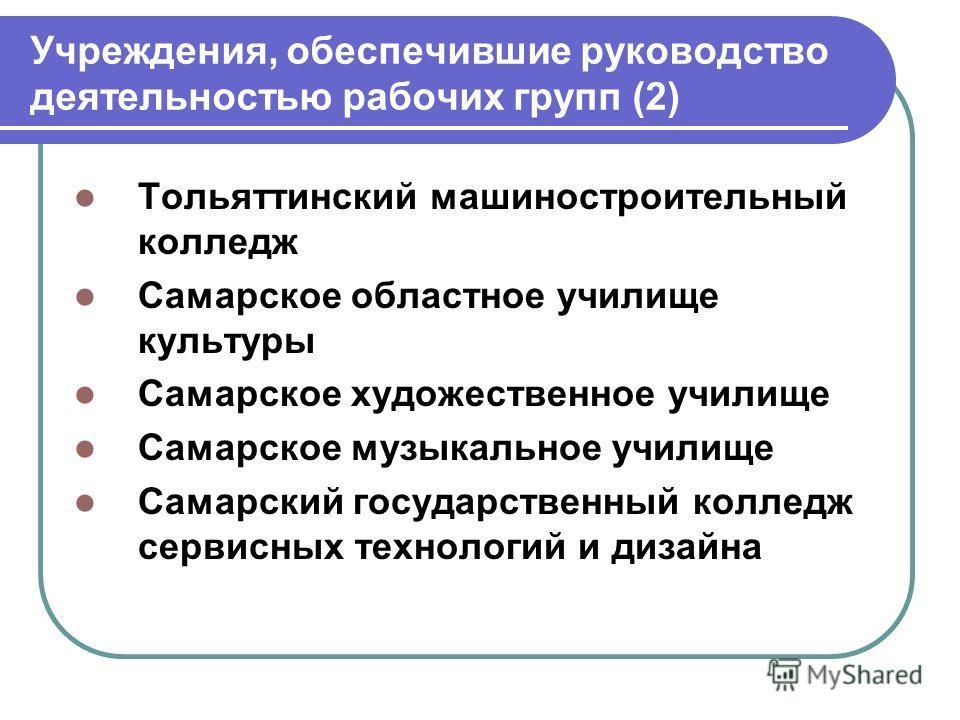 Учреждения, обеспечившие руководство деятельностью рабочих групп (2) Тольяттинский машиностроительный колледж Самарское областное училище культуры Самарское художественное училище Самарское музыкальное училище Самарский государственный колледж сервис