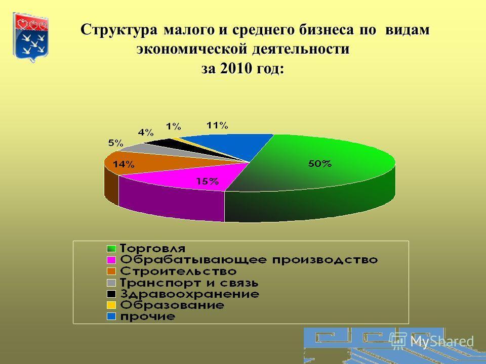 Структура малого и среднего бизнеса по видам экономической деятельности Структура малого и среднего бизнеса по видам экономической деятельности за 2010 год: