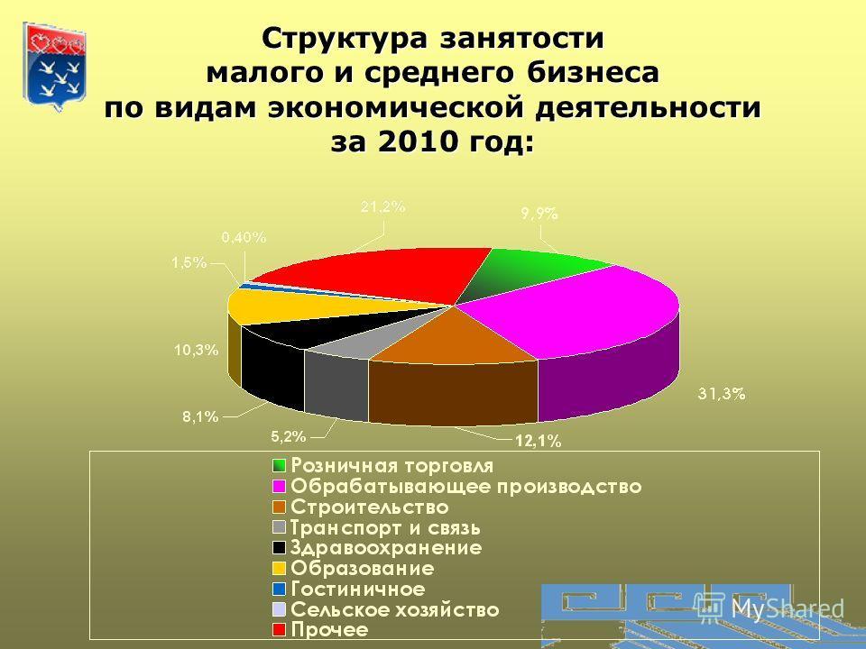 Структура занятости малого и среднего бизнеса по видам экономической деятельности за 2010 год: