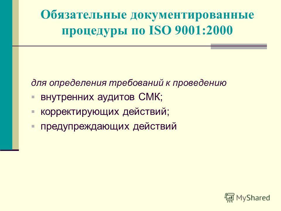 Обязательные документированные процедуры по ISO 9001:2000 для определения требований к проведению внутренних аудитов СМК; корректирующих действий; предупреждающих действий