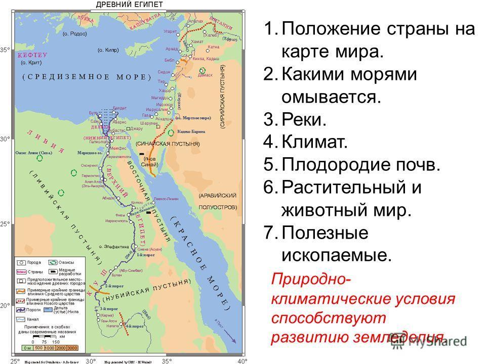 1.Положение страны на карте мира. 2.Какими морями омывается. 3.Реки. 4.Климат. 5.Плодородие почв. 6.Растительный и животный мир. 7.Полезные ископаемые. Природно- климатические условия способствуют развитию земледелия.