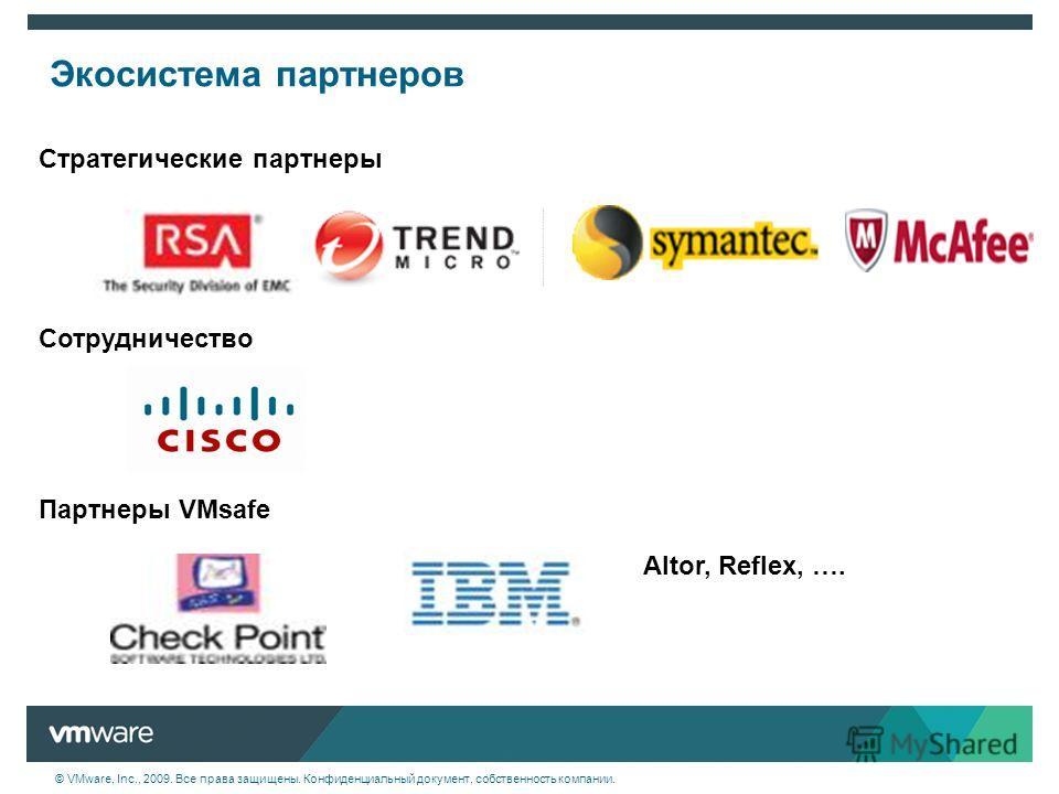 © VMware, Inc., 2009. Все права защищены. Конфиденциальный документ, собственность компании. Экосистема партнеров Стратегические партнеры Сотрудничество Партнеры VMsafe Altor, Reflex, ….