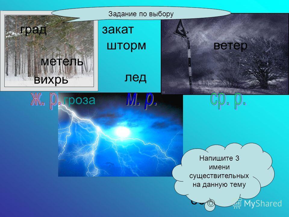 Замени одним словом Замёрзшая вода - … Движение воздуха - … Сильная буря на море - … Сильный ветер со снегом - … Сильный ветер - … Ненастье с и молнией - … Заход солнца - … Слова для справок:закат,град,вихрь,гроза,ветер,шторм,метель,лёд.вихрь,