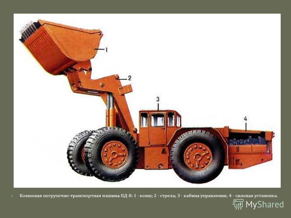 K овшовая погрузочно - транспортная машина ПД -8: 1 - ковш ; 2 - стрела ; 3 - кабина управления ; 4 - силовая установка.