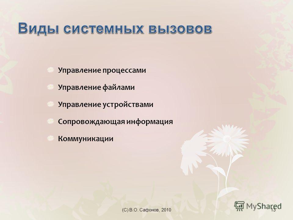 (C) В.О. Сафонов, 201013 Управление процессами Управление файлами Управление устройствами Сопровождающая информация Коммуникации