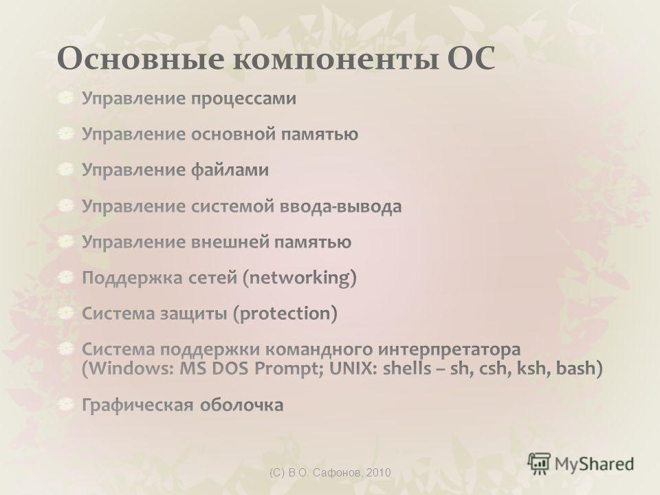 (C) В.О. Сафонов, 2010 Основные компоненты ОС