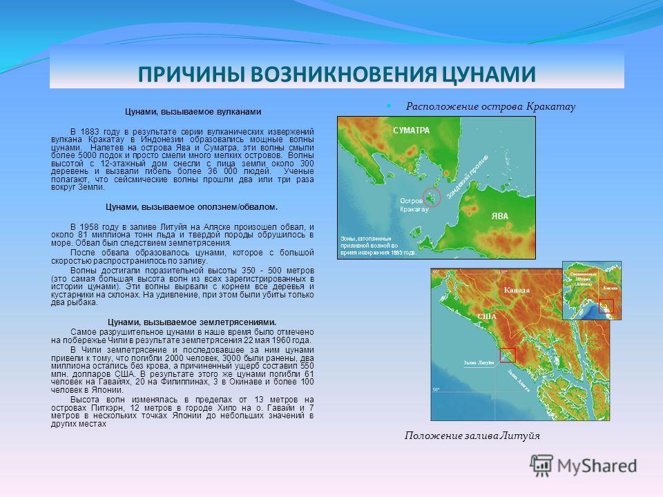 ТРАНСФОРМАЦИЯ ВОЛНЫ ЦУНАМИ Появлению волн цунами часто предшествует постепенное отступление воды от берега в том случае, когда перед первым гребнем волны идет впадина или подошва волны, или повышение уровня воды примерно до половины амплитуды последу