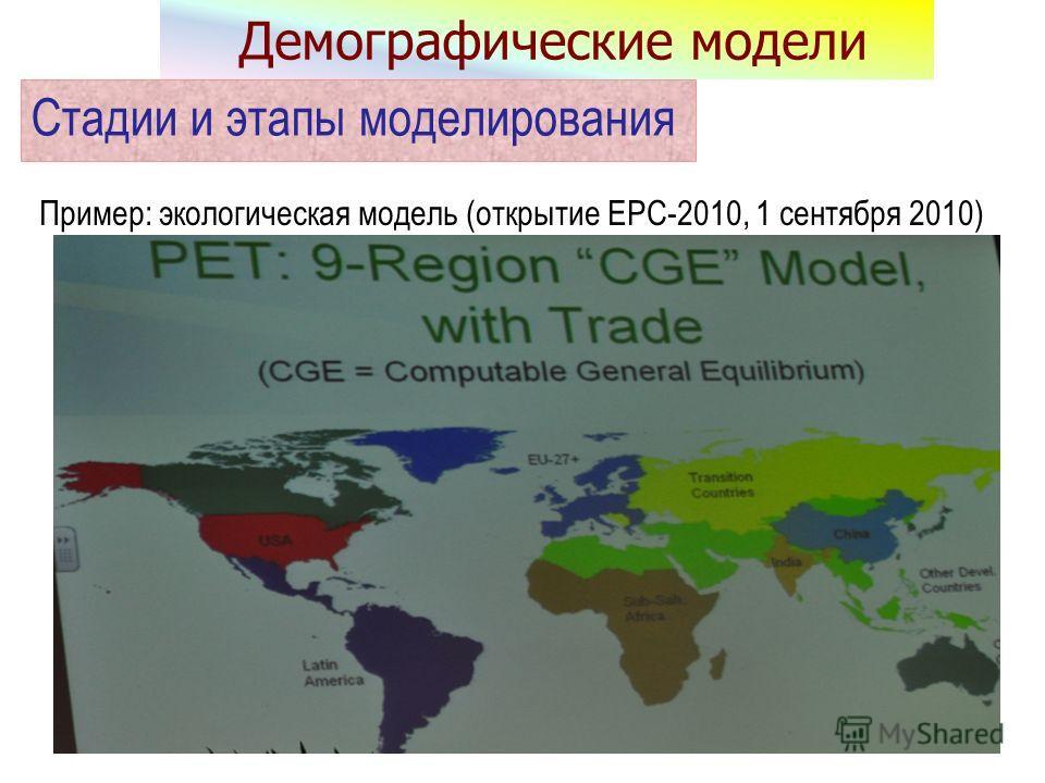 Пример: экологическая модель (открытие EPC-2010, 1 сентября 2010) Стадии и этапы моделирования Демографические модели