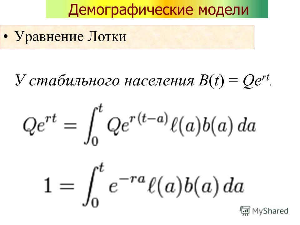 Демографические модели Уравнение Лотки У стабильного населения B(t) = Qe rt.