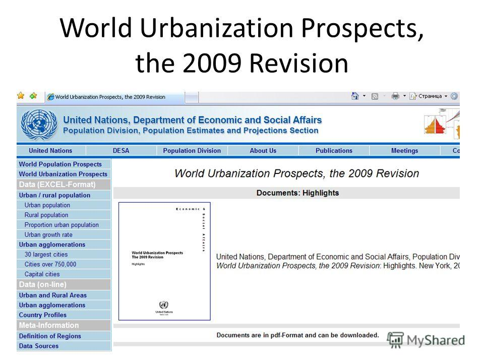 World Urbanization Prospects, the 2009 Revision