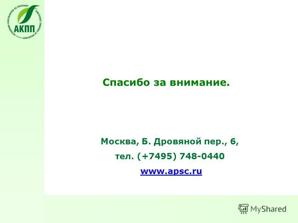 Спасибо за внимание. Москва, Б. Дровяной пер., 6, тел. (+7495) 748-0440 www.apsc.ru