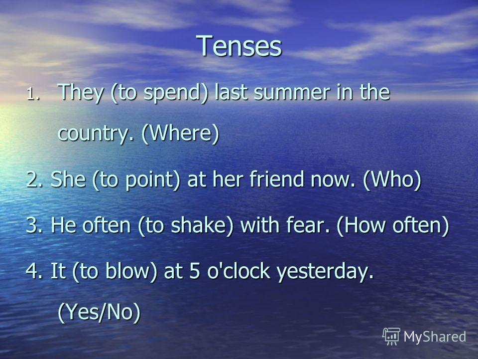 Tenses 1. They (to spend) last summer in the country. (Where) 2. She (to point) at her friend now. (Who) 3. He often (to shake) with fear. (How often) 4. It (to blow) at 5 o'clock yesterday. (Yes/No)