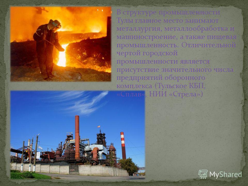 В структуре промышленности Тулы главное место занимают металлургия, металлообработка и машиностроение, а также пищевая промышленность. Отличительной чертой городской промышленности является присутствие значительного числа предприятий оборонного компл