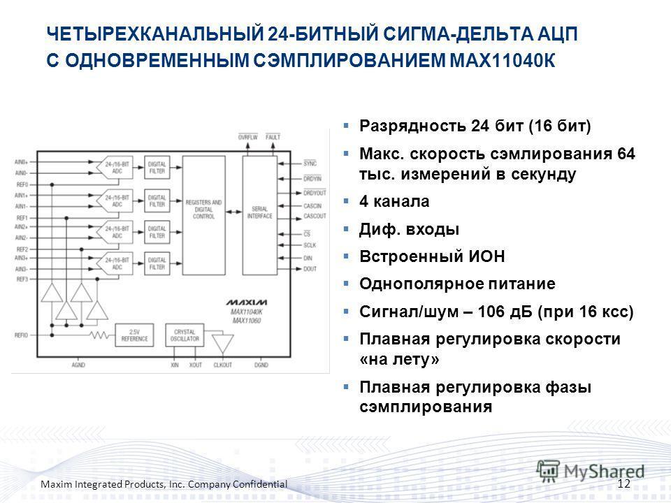 ЧЕТЫРЕХКАНАЛЬНЫЙ 24-БИТНЫЙ СИГМА-ДЕЛЬТА АЦП С ОДНОВРЕМЕННЫМ СЭМПЛИРОВАНИЕМ MAX11040К 12 Maxim Integrated Products, Inc. Company Confidential Разрядность 24 бит (16 бит) Макс. скорость сэмлирования 64 тыс. измерений в секунду 4 канала Диф. входы Встро