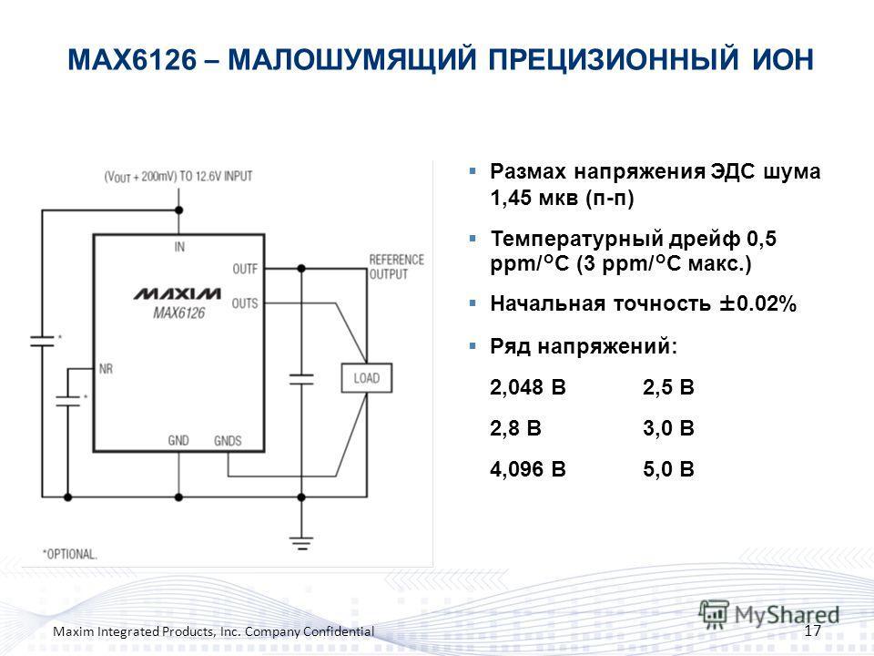 MAX6126 – МАЛОШУМЯЩИЙ ПРЕЦИЗИОННЫЙ ИОН 17 Maxim Integrated Products, Inc. Company Confidential Размах напряжения ЭДС шума 1,45 мкв (п-п) Температурный дрейф 0,5 ppm/°C (3 ppm/°C макс.) Начальная точность ±0.02% Ряд напряжений: 2,048 В2,5 В 2,8 В3,0 В