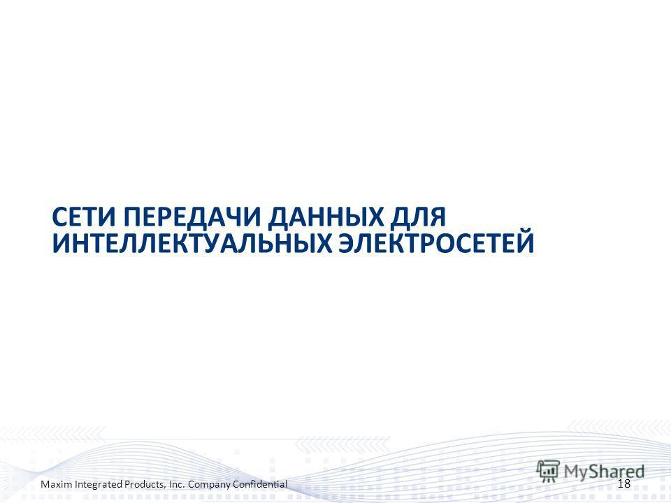 СЕТИ ПЕРЕДАЧИ ДАННЫХ ДЛЯ ИНТЕЛЛЕКТУАЛЬНЫХ ЭЛЕКТРОСЕТЕЙ 18 Maxim Integrated Products, Inc. Company Confidential