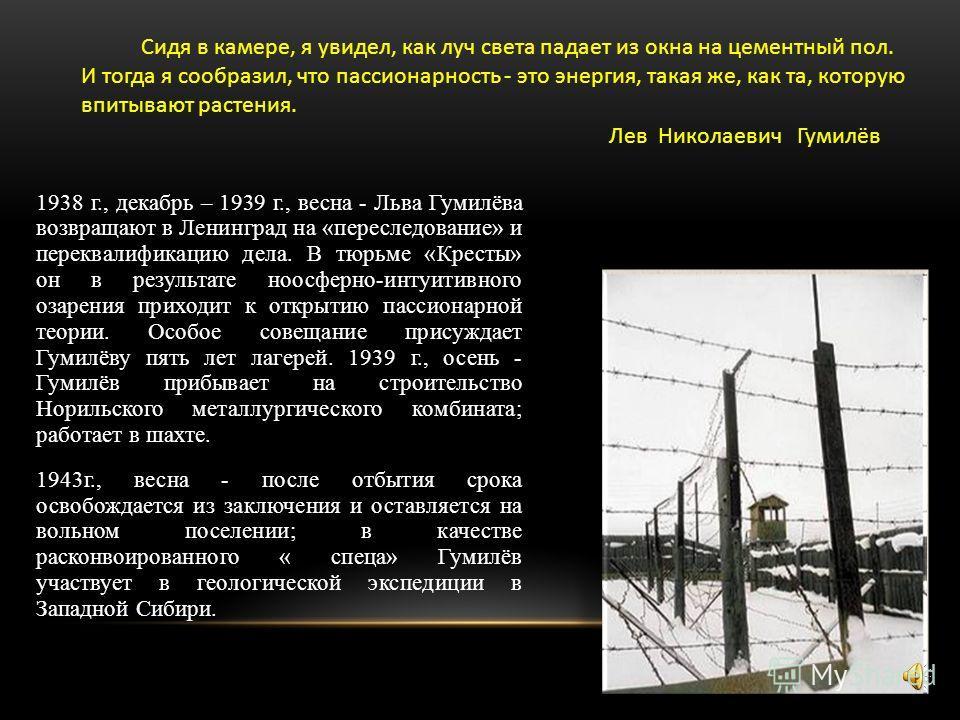 Сын великих поэтов – Н.С. Гумилева и А.А.Ахматовой, ученый, признанный во всем мире, чьи труды написаны универсальным языком, доступным и для школьников и для академиков оказался за решеткой в самом начале своей карьеры, будучи студентом. Пытки, тюрь