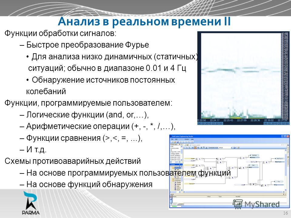 Анализ в реальном времени II Функции обработки сигналов: – Быстрое преобразование Фурье Для анализа низко динамичных (статичных) ситуаций; обычно в диапазоне 0.01 и 4 Гц Обнаружение источников постоянных колебаний Функции, программируемые пользовател