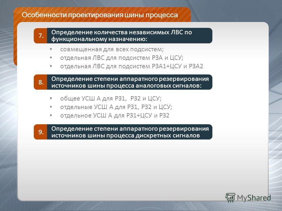 Особенности проектирования шины процесса совмещенная для всех подсистем; отдельная ЛВС для подсистем РЗА и ЦСУ; отдельная ЛВС для подсистем РЗА1+ЦСУ и РЗА2 Определение количества независимых ЛВС по функциональному назначению: 7. общее УСШ А для РЗ1,