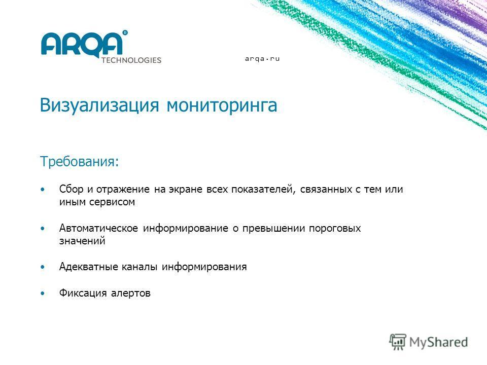 arqa.ru Визуализация мониторинга Требования: Сбор и отражение на экране всех показателей, связанных с тем или иным сервисом Автоматическое информирование о превышении пороговых значений Адекватные каналы информирования Фиксация алертов