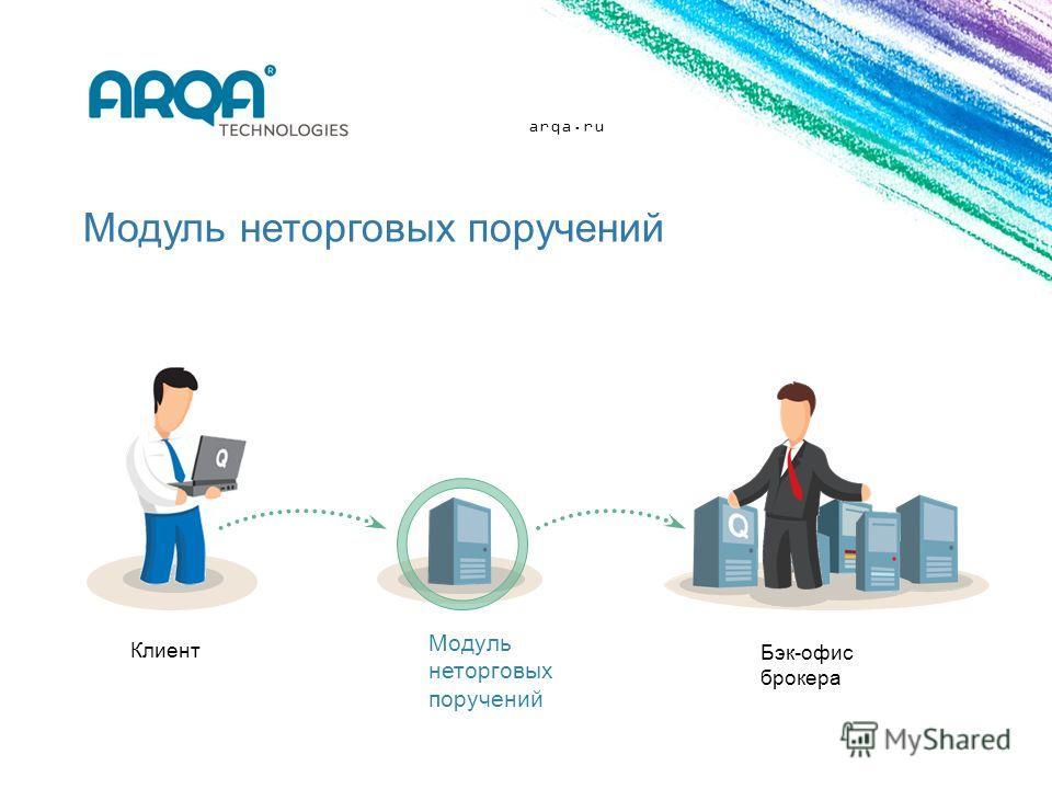 arqa.ru Модуль неторговых поручений Клиент Модуль неторговых поручений Бэк-офис брокера