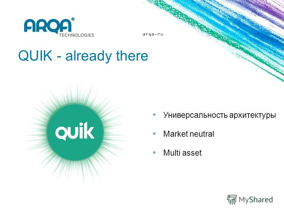 arqa.ru QUIK - already there Универсальность архитектуры Market neutral Multi asset