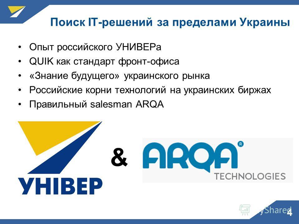 4 Поиск IT-решений за пределами Украины Опыт российского УНИВЕРа QUIK как стандарт фронт-офиса «Знание будущего» украинского рынка Российские корни технологий на украинских биржах Правильный salesman ARQA &