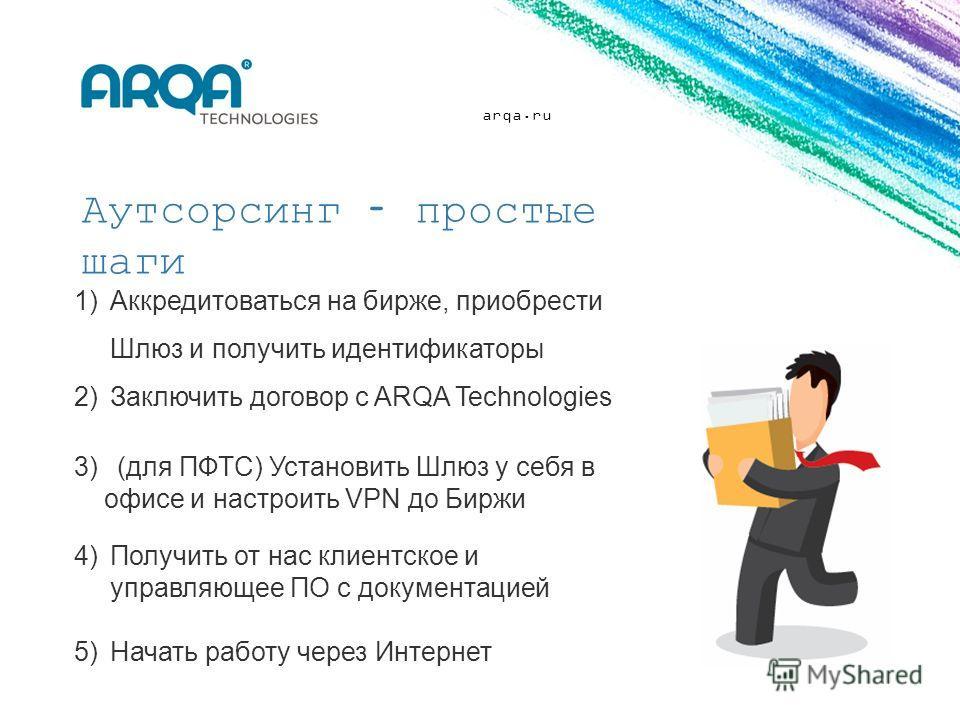 arqa.ru Аутсорсинг – простые шаги 1)Аккредитоваться на бирже, приобрести Шлюз и получить идентификаторы 2)Заключить договор с ARQA Technologies 3) (для ПФТС) Установить Шлюз у себя в офисе и настроить VPN до Биржи 4)Получить от нас клиентское и управ