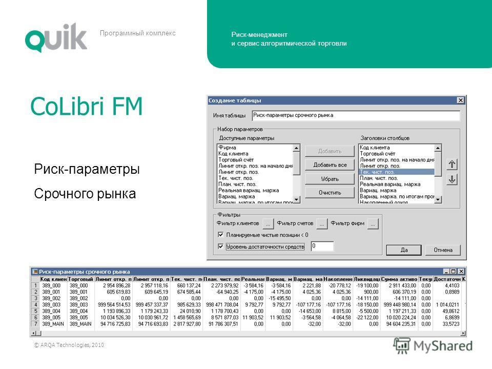 Риск-менеджмент и сервис алгоритмической торговли © ARQA Technologies, 2010 Программный комплекс CoLibri FM Риск-параметры Срочного рынка