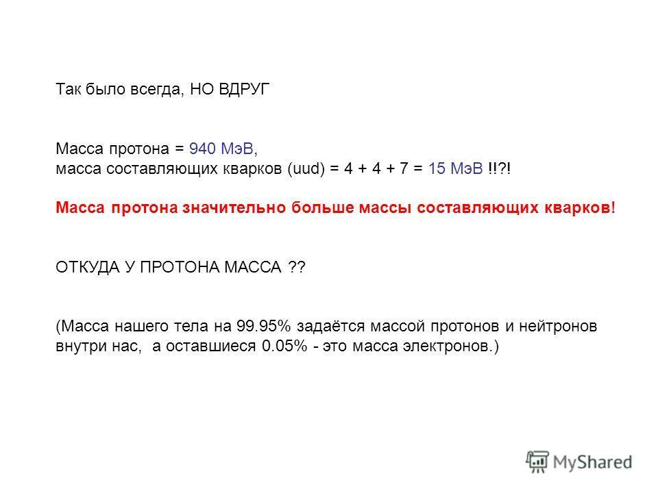 Так было всегда, НО ВДРУГ Масса протона = 940 МэВ, масса составляющих кварков (uud) = 4 + 4 + 7 = 15 MэВ !!?! Масса протона значительно больше массы составляющих кварков! ОТКУДА У ПРОТОНА МАССА ?? (Масса нашего тела на 99.95% задаётся массой протонов