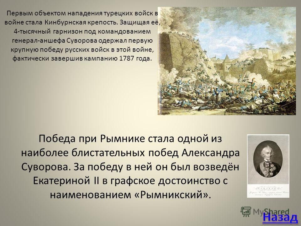 Первым объектом нападения турецких войск в войне стала Кинбурнская крепость. Защищая её, 4-тысячный гарнизон под командованием генерал-аншефа Суворова одержал первую крупную победу русских войск в этой войне, фактически завершив кампанию 1787 года. П