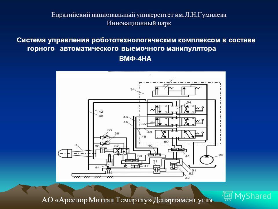 Система управления робототехнологическим комплексом в составе горного автоматического выемочного манипулятора ВМФ-4НА АО «Арселор Миттал Темиртау» Департамент угля