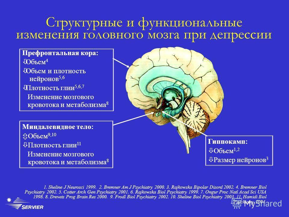 Структурные и функциональные изменения головного мозга при депрессии Гиппокамп: Объем 1,2 Размер нейронов 3 1. Sheline J Neurosci 1999. 2. Bremner Am J Psychiatry 2000. 3. Rajkowska Bipolar Disord 2002. 4. Bremner Biol Psychiatry 2002. 5. Cotter Arch