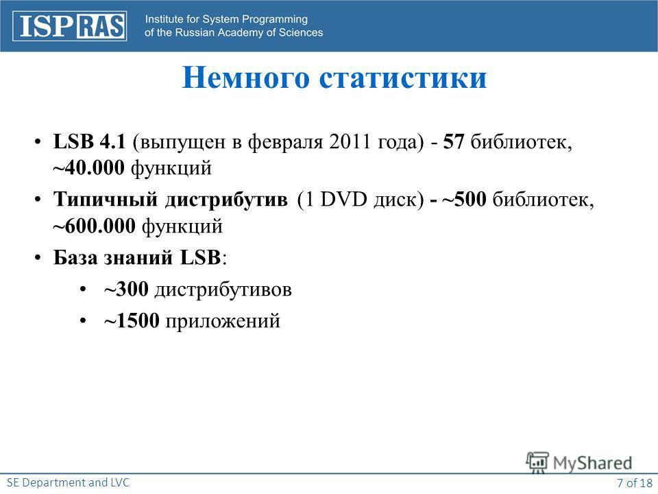 SE Department and LVC 7 of 18 Немного статистики LSB 4.1 (выпущен в февраля 2011 года) - 57 библиотек, ~40.000 функций Типичный дистрибутив (1 DVD диск) - ~500 библиотек, ~600.000 функций База знаний LSB: ~300 дистрибутивов ~1500 приложений