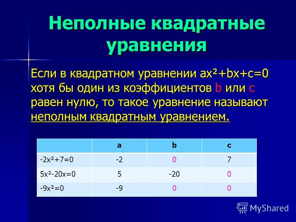 Неполные квадратные уравнения Если в квадратном уравнении ax²+bx+c=0 хотя бы один из коэффициентов b или c равен нулю, то такое уравнение называют неполным квадратным уравнением. abc -2x²+7=0-207 5x²-20x=05-200 -9x²=0-900