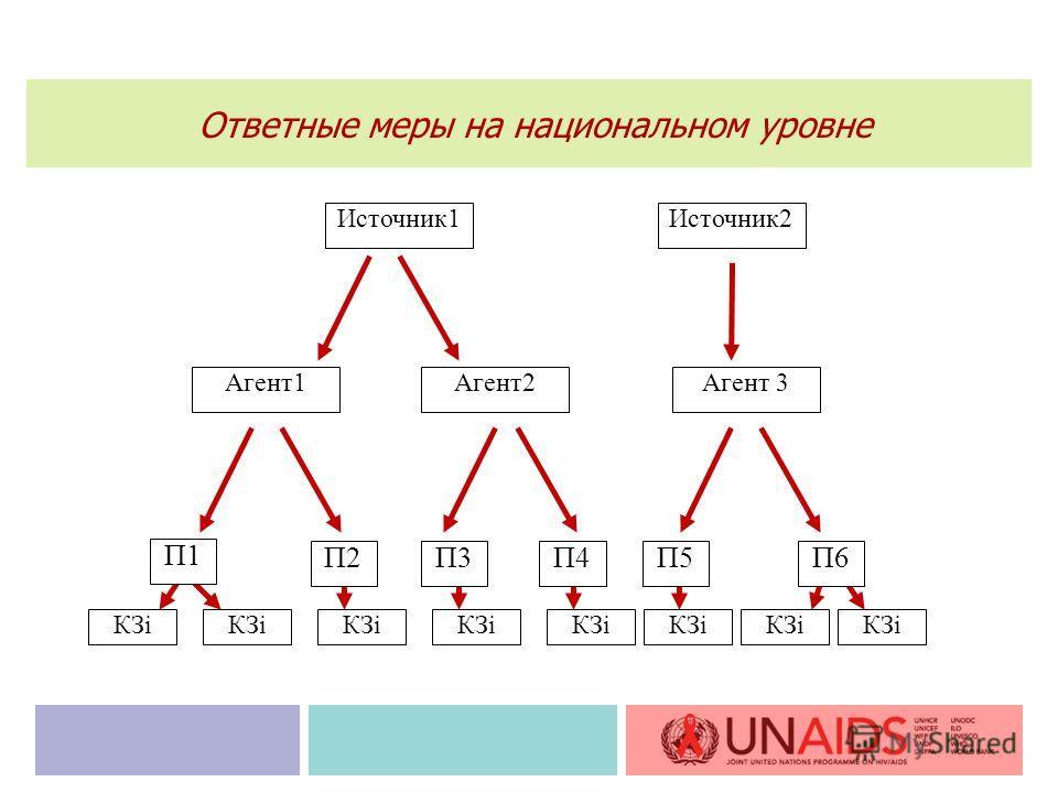 П1 Источник1Источник2 Агент1 П2П4П3 Агент2Агент 3 КЗi П5П6 Ответные меры на национальном уровне