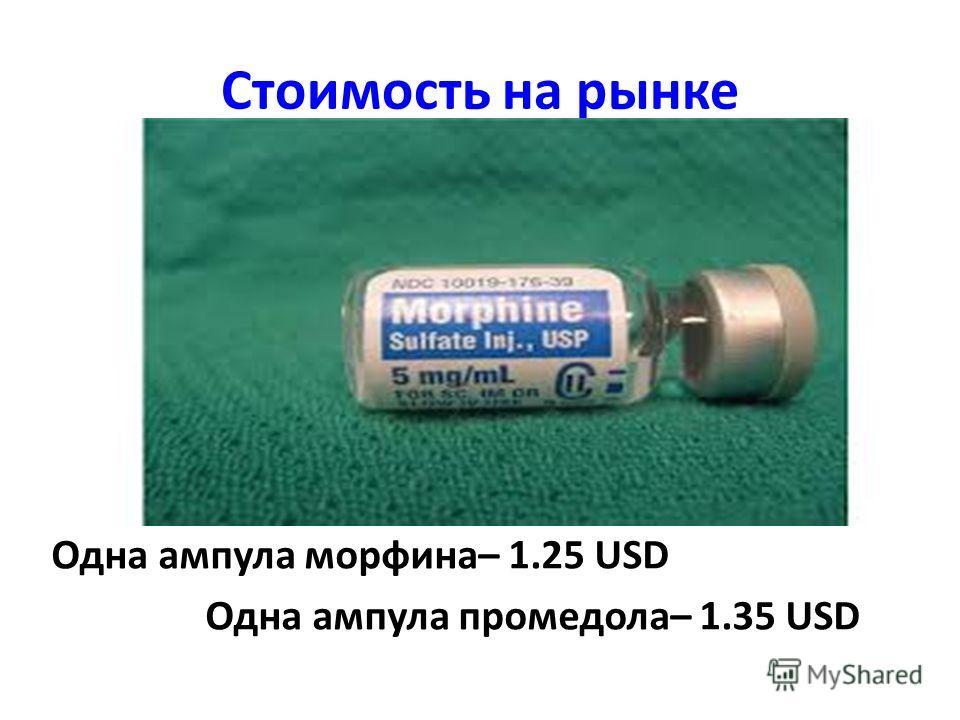 Стоимость на рынке Одна ампула морфина– 1.25 USD Одна ампула промедола– 1.35 USD