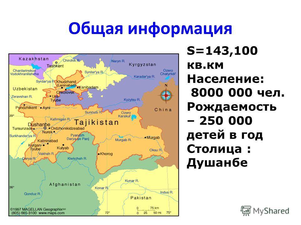 Общая информация S=143,100 кв.км Население: 8000 000 чел. Рождаемость – 250 000 детей в год Столица : Душанбе
