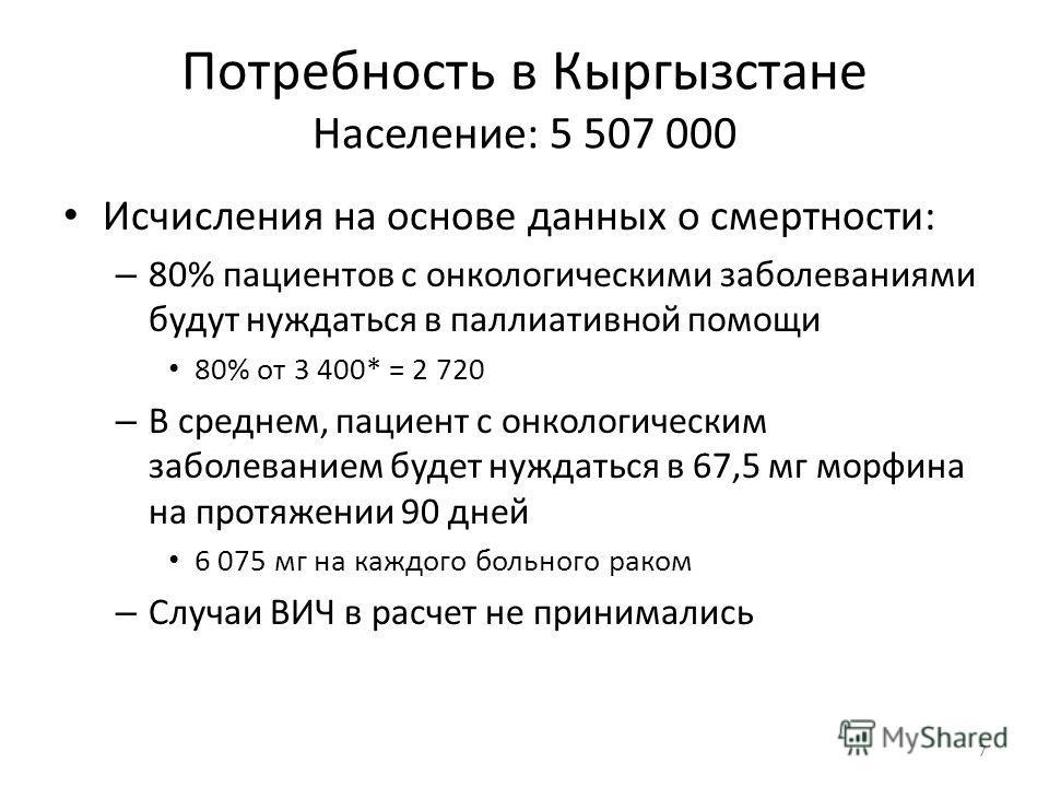 Потребность в Кыргызстане Население: 5 507 000 Исчисления на основе данных о смертности: – 80% пациентов с онкологическими заболеваниями будут нуждаться в паллиативной помощи 80% от 3 400* = 2 720 – В среднем, пациент с онкологическим заболеванием бу