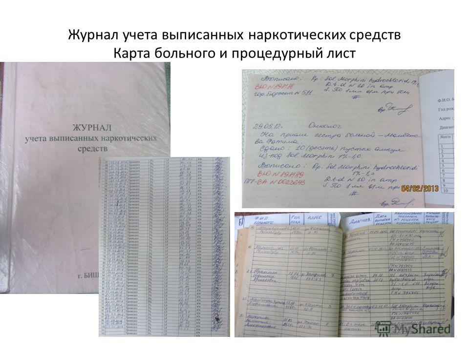 Журнал учета выписанных наркотических средств Карта больного и процедурный лист