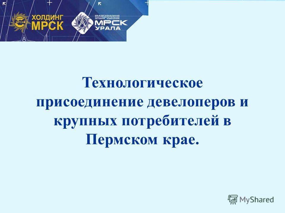 Технологическое присоединение девелоперов и крупных потребителей в Пермском крае.