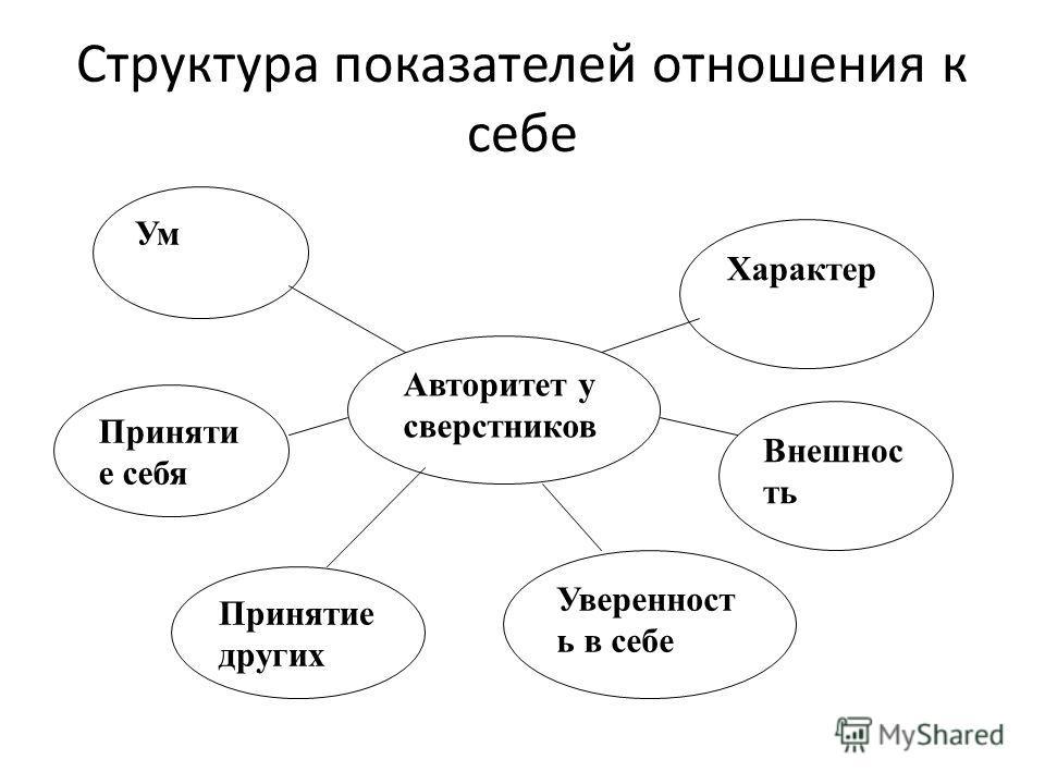 Структура показателей отношения к себе Авторитет у сверстников Характер Уверенност ь в себе Внешнос ть Принятие других Приняти е себя Ум